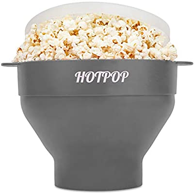 The Original Hotpop Microwave Popcorn Popper, Silicone Popcorn Maker, Collapsible Bowl Bpa Free and Dishwasher Safe- 17 Colors Available (Gray)