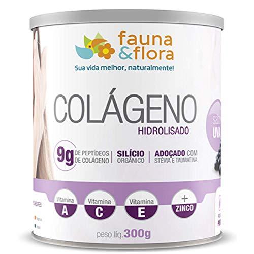 Colágeno Hidrolisado em Pó com Silício Orgânico + Vitaminas Fauna e Flora 300g Sabor Uva