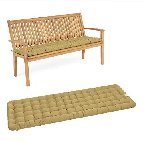 HAVE A SEAT Luxury – Cojín de asiento para banco de jardín, cómodo cojín para banco de jardín, lavable hasta 95 °C, fácil cuidado, fabricado en Alemania (100 x 48 cm, beige)