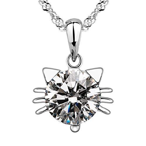 Colgante de collar ZIYUYANG, plata de ley 925 moda lindo gato animal cristal brillante collares pendientes para mujer Transparente