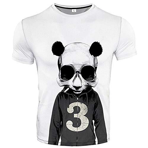 T-Shirt Paar Top Sommer 3D Digital Animal Print Rundhalsausschnitt Kurzarm T-Shirt Erwachsenen Lässig Trend-Glasses_Panda_L