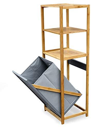 osoltus Badregal/Wäschesammler Bambus mit Wäschebox klappbar Wäschsortierer 130cm