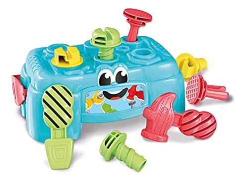 Clementoni 17042 Baby Clementoni – Werkbank, Motorik-Spielzeug aus 100% recyceltem Material, Werkzeug-Box mit Hammer & Schrauben, für Kleinkinder ab 10 Monaten, Idee zu Weihnachten