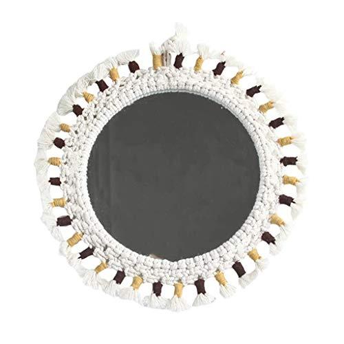 BWCGA Espejo de pared, decorativo nórdico, redondo, colgante, cosmético, espejo de maquillaje, vidrio de afeitar, decoración del hogar, para salón, baño, encimera, tocador(plata)