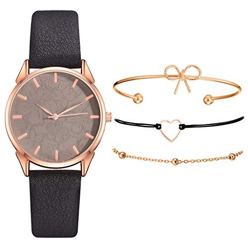 Sets de Reloj y Pulsera Mujer Casual Moda Relojes de Cuarzo para Mujer Adolescentes Chica Regalo de San Valentín para Amante,Relojes 1PC y Pulsera 3PC (A_Negro)
