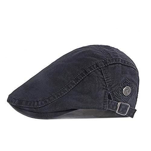 Adantico Hombre Sombrero Unisex Boina Flat Cap en Primavera y Verano (Negro)