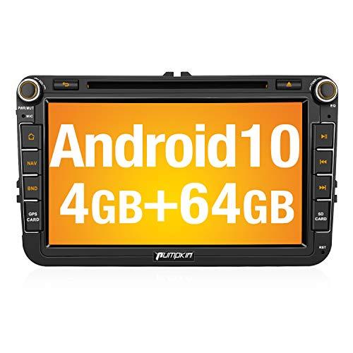 PUMPKIN Android 10 Autoradio für VW Radio mit Navi 4GB+64GB Unterstützt Bluetooth DAB + Android Auto CD DVD WiFi 4G USB MicroSD 8 Zoll IPS Bildschrim