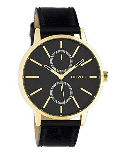 Oozoo Unisex Armbanduhr Chrono Look mit Lederband 42 MM Goldfarben/Schwarz C10589