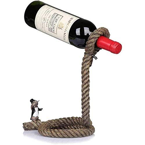 POETRY Crafts Rack de Vino con suspensión de Cuerda de cáñamo Rack de Vino de Conejo Estatua de Cuerda de cáñamo artesanías de Resina para Regalos Recuerdos Decoraciones para el hogar (tamaño