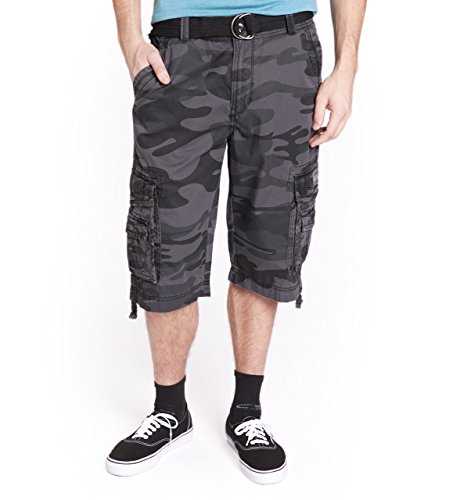 Unionbay Men's Cordova Belted Cargo Short Messenger -  34 - Black Camo