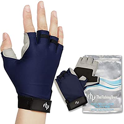 The Fishing Tree Fingerless Fishing Gloves, Certified Sun Protection UPF50+ Block, Kayak, Hiking, Paddling, Sailing, Rowing, Driving, Protect Hands from Sun Damage, Chemical Free