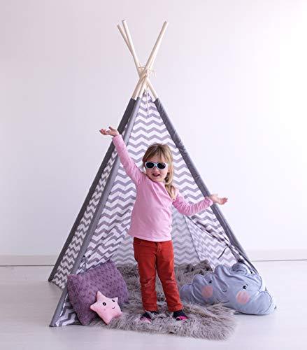 Kiddus Tienda Tipi Juego simbólico decoración habitación Infantil niños Blanco y Gris...