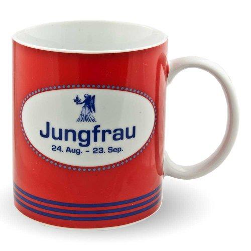 Tasse Sternzeichentasse Kaffeetasse Becher rot blau Kaffeebecher Sternzeichen (Jungfrau)