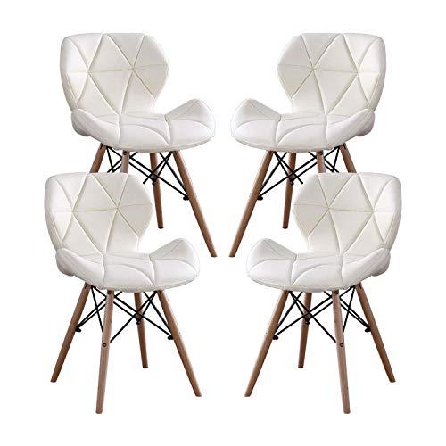 MIFI 4er Set Esszimmerstühle Esszimmerstuhl aus Massivem Naturholz, Moderner Stuhl mit PU-Kissen Rundes Holzbein Moderner Stuhl für Wohnzimmer, Küche, Balkon Esszimmerstuhl (Weiß)