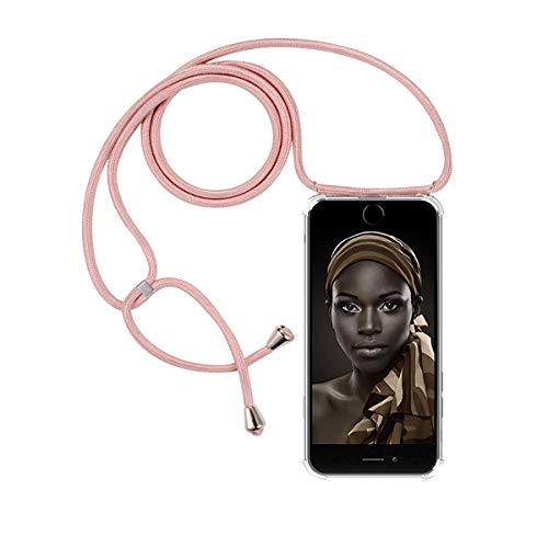 FMPC Carcasa con Cuerda iPhone 7 Plus/iPhone 8 Plus, Cristal TPU Silicona Transparente Ultrafina de movil Case con Colgante Funda Protector Airbag [Moda y Practico] Anti-rasguños Antichoque