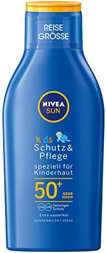 NIVEA SUN Kids Schutz & Pflege Sonnenmilch LSF 50+ Reisegröße (100 ml), pflegende Sonnencreme mit LSF 50+, extra wasserfeste Sonnenlotion für empfindliche Kinderhaut
