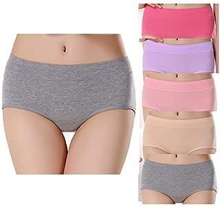 Shentukeji Women's Cotton Underwear Mid Waist Stretch Seamless Underpants Comfortable Briefs Lingerie 5 PCS