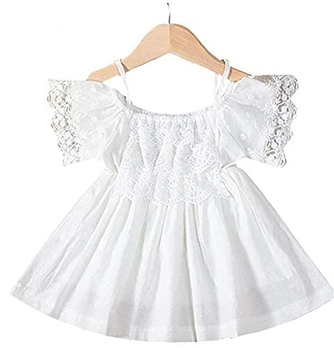 Yililay meisjes zomerjurkje Pure White kanten jurk Sling Off Shoulder Dress for Baby Kids 100cm