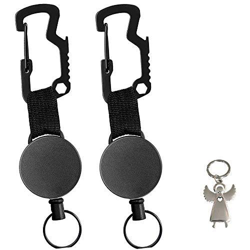 BOYATONG Einziehbarer schlüsselanhänger Retractable schlüsselanhänger,schlüsselrolle ausziehbar,schlüsselband mit stahlseil,Multitool Karabinerhaken,Schutzengel Schlüsselanhänger