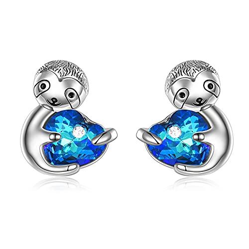 AOBOCO Sloth Stud Earrings Sterling Silver...