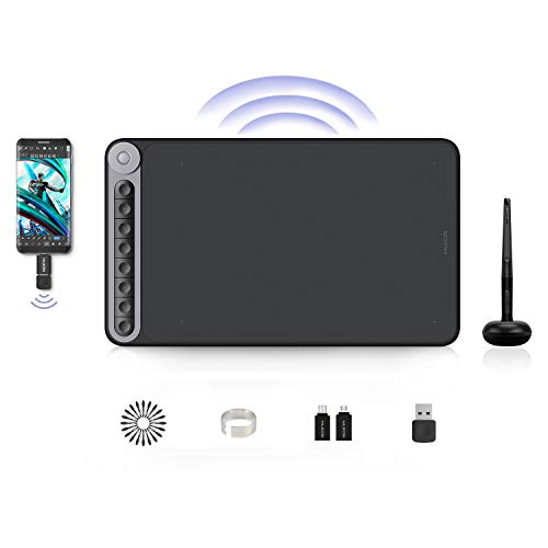 HUION Grafiktablett, Inspiroy Dial Q620M Wireless-Grafiktablett mit multifunktionalem Wählcontroller, Unterstützung für Wireless-Konnektivität, Kompatibel mit Windows/macOS/Android