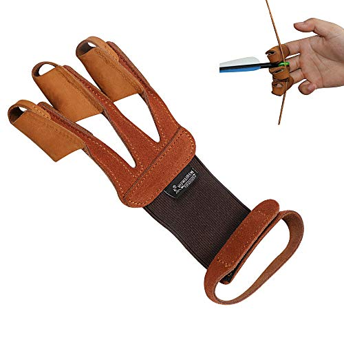 Huntingdoor Soft 3 Finger Archery Glove Black and Brown Protective Finger Guard Suede Finger Tab for Left and Right Hand Shooter