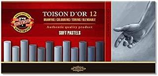 KOH-I-NOOR TOISON D'OR 8522 Artist's Soft Pastels - Grey (Pack of 12)