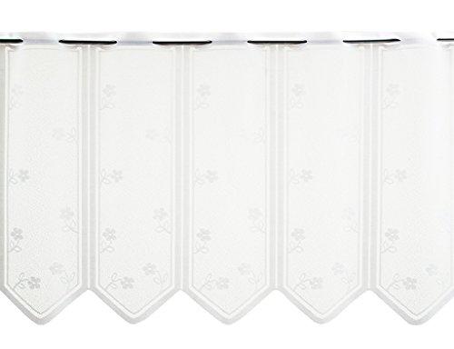 Scheibengardine mit Blümchen 45 cm hoch | Breite der Gardine in 30,5 cm Schritten durch Stückzahl frei wählbar | Farbe: weiß