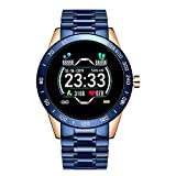 Generies Reloj Inteligente para Steel Band Smart Watch Hombres Fitness Tracker Frecuencia cardíaca Presión Arterial Multifunción Aplicable para iOS Android Smartwatch Azul