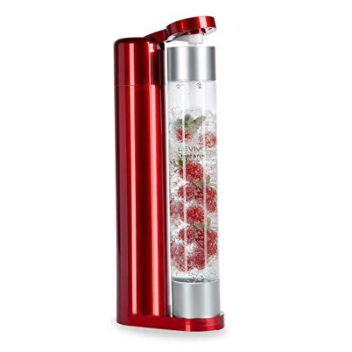 LEVIVO Fruit & Fun Slim Bottiglia per Gasatore, Anidride Carbonica per Acqua, Cocktail e Altre Bevande, Senza CO² Cilindro, Rosso/Argento, 1 litro