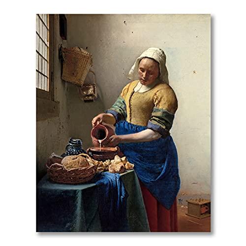 SLJZD stampe su tela 30x45cm Senza Cornice Ragazza Con Un Orecchino Di Perla Di Johannes Vermeer Gallery Poster Wall Art Print Home Decor Vintage Canvas Painting