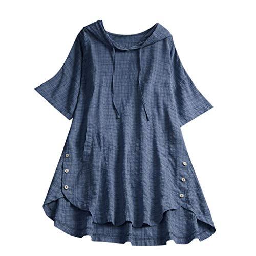 QIMANZI Übergröße Damen Lange Ärmel Kaftan Ausgebeult Taste Bettwäsche aus BaumwolleTunika Bluse(Blau,5XL)