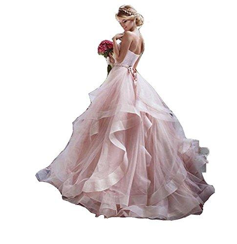 NanGer Damen A Linie Prinzessin Tüll Hochzeitskleider Brautkleider Lang Rosa 42