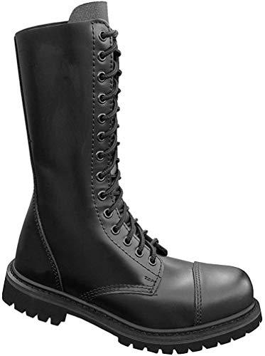 Mil-Tec - Invader 14 Loch Stiefel Boots Schwarz Stahlkappe Leder Schuhe Ranger