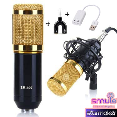 Studiostar BM-800 Condenser Microphone for Professional Studio with Sock Mount for Singing, Youtube, Voiceover with 3.5mm Audio Jack to Headphone and Microphone Splitter and Sound Card