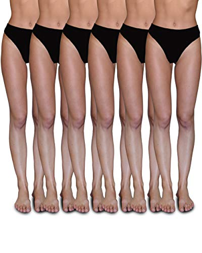 Sexy Basics Women's 6-Pack Active Sport Thong Buttery Soft Panties Underwear (6 Pack- Black, Medium)
