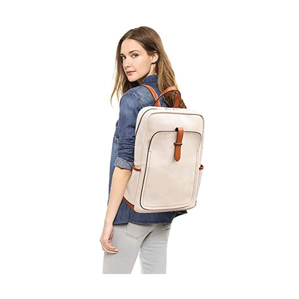 BROMEN Leather Laptop Backpack for Women 15.6 inch Computer Backpack College Travel Daypack Bag 2