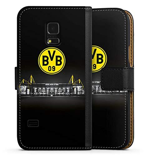 DeinDesign Klapphülle kompatibel mit Samsung Galaxy S5 Mini Handyhülle aus Leder schwarz Flip Case BVB Stadion Borussia Dortmund