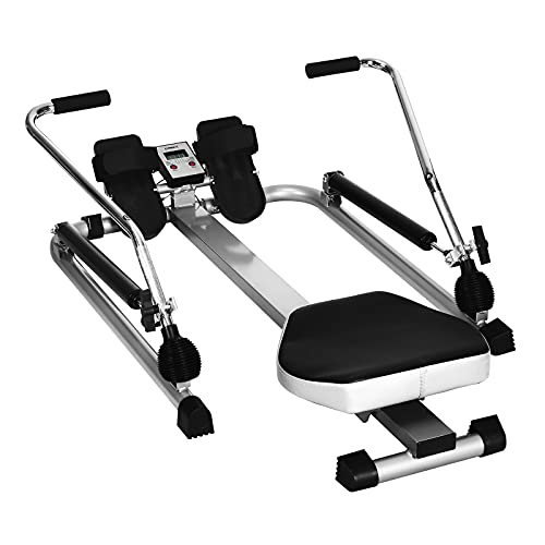 Sporfit Hydraulic Rowing Machine- Full Motion Rower, Foldable Rowing Machines w/Adjustable Resistance & LCD Monitor for Cardio Exercise, Home/Office/Apartment
