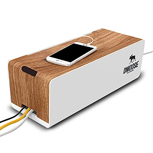 DMoose Cable Management Box Organizer for Cords, Power Strips or Surge Protectors, Hide Loose Wires Behind TVs, Home Office Computers, Office Desks, Entertainment Centers