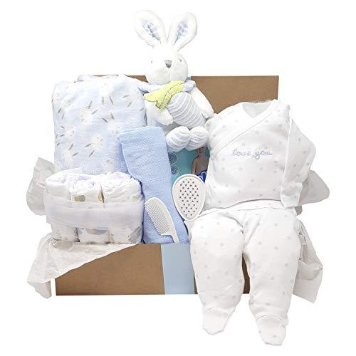 Mababyshop- Canastilla bebe Modelo Funny Rabbit con manta de bebé, peluche, pijama y esenciales de recién nacido (Azul)