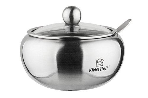 Kinghoff, la bellezza nelle forme semplici,zuccheriera, Acciaio INOX, argento, 460 ml | Satin