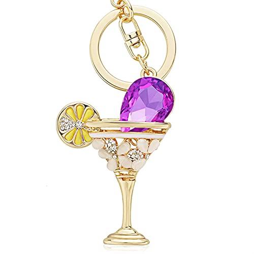 WOJING Copa de Copa de Vino Limón Lápiz de Llavero Llavero Tenedor de la Bolsa de Cristal Hebilla Colgante para llaveros de Coche llaveros (Color : 3, Size : 1)