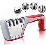TATAFUN Afilador de Cuchillos Profesional, Amoladora De Cocina Kit 4 en 1 Knife Sharpener, Base de Acero Inoxidable...