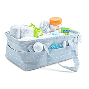Gray Baby Diaper Caddy Organizer – | Large Gray Nursery Storage Bin for Changing Table | Shower Gift Basket | Car Travel Tote Bag | Newborn Registry Must Have