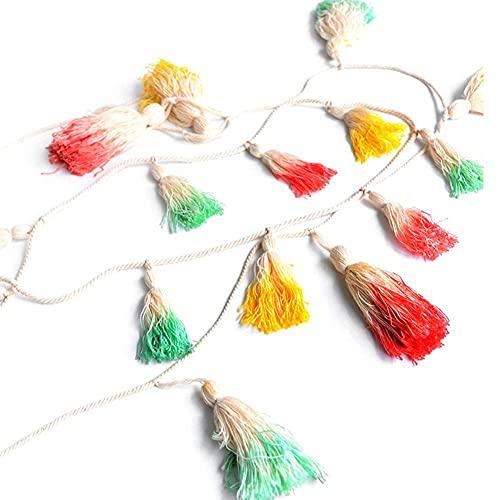 Shanghaiyuming - Guirnalda de borlas, decoración de borla, colorida, decoración de borla tejida decorativa para colgar en la pared