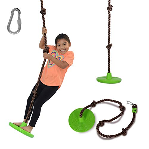 Swurfer Disco - 3-in-1 Multi-Purpose Sit, Stand, & Climb Disc Swing, Heavy Duty Climbing Rope Swing - 6 Foot Rope with Four Adjustable Knots, Holds 200lbs, Ages 6 and Up, Green