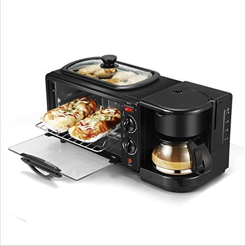 ASDFGH Mini Horno 9l, Máquina De Desayuno Multifunción Tres En Uno Horno Eléctrico Sandwich Tostadora Horno Café Tostador Tostador freidora (Color : Black, Size : Set Meal 4)