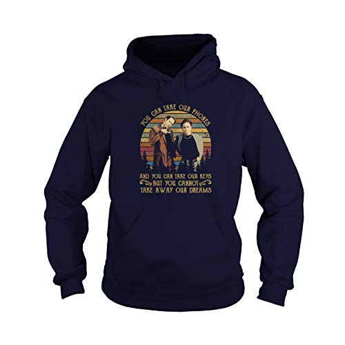 Zoko Apparel Unisex You Can Take Our Phones Vintage Adult Hooded Sweatshirt (Navy, Large)