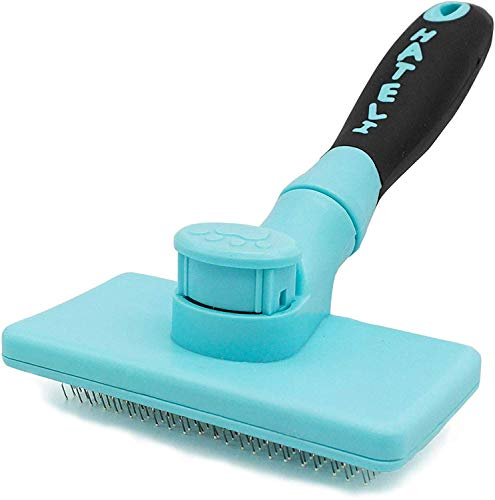HATELI Self Cleaning Slicker Brush for Cat & Dog - Cat Grooming Brushes for Shedding Removes Mats, Tangles and Loose Hair Suitable Cat Brush for Long & Short Hair (Blue)